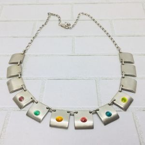 Sterling Panel Link Modern Necklace w/Lucite Drops